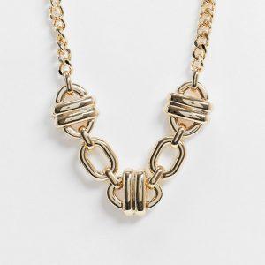 ASOS DESIGN - Guldfärgat halsband med ovala länkar