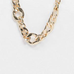 ASOS DESIGN - Guldfärgat halsband med pansarkedja