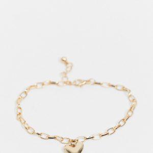 ASOS DESIGN Curve - Guldfärgat armband med hjärtberlock
