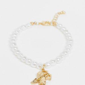 ASOS DESIGN Curve - Guldfärgat armband med pärlor och kerub-berlock