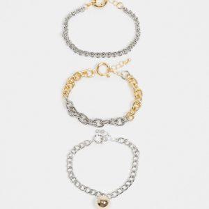 ASOS DESIGN - Flerfärgade armband med klotberlock, 3-pack-Olika färger