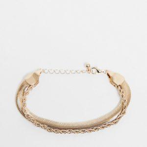 ASOS DESIGN - Guldfärgat armband i flera kedjor med platt ormkedja i vintagestil