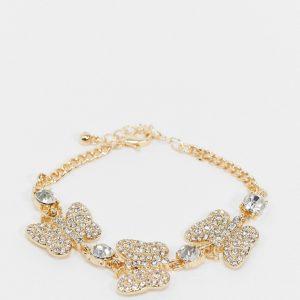 ASOS DESIGN - Guldfärgat armband med strassutsmyckade fjärilsberlocker