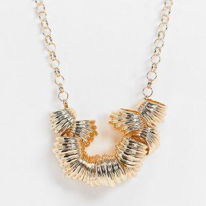 ASOS DESIGN - Guldfärgat halsband med ribbade hängen