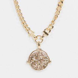 ASOS DESIGN - Guldfärgat halsband med stort mynthänge
