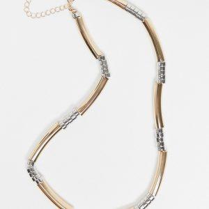 ASOS DESIGN - Halsband med metallpärlor i rörform och blandade färger-Olika färger