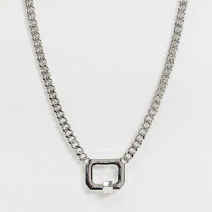 ASOS DESIGN - Silverfärgat halsband med pansarkedja och låshänge