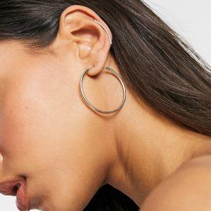 ASOS DESIGN - Klättrande örhänge i äkta silver med cirkeldesign