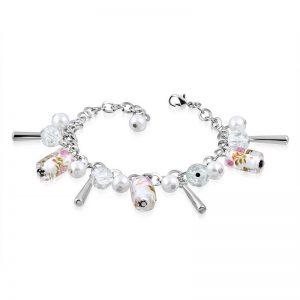 Silverfärgat Armband med Stänger och Pärlor