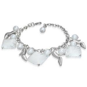 Silverfärgat Armband med Stilettsko och Vita Pärlor