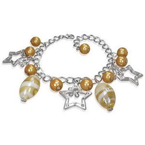 Silverfärgat Armband med Stjärnor, Blommor och Pärlor