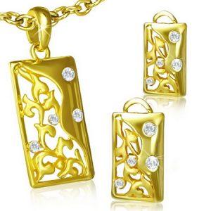 Yin Yan Floral - Guldfärgat Hänge & Örhängen