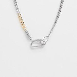 ASOS DESIGN - Blandfärgat halsband med strassutsmyckat spänne-Flerfärgad