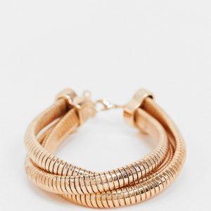ASOS DESIGN Curve - Guldfärgat armband i flera lager med platt vintagekedja