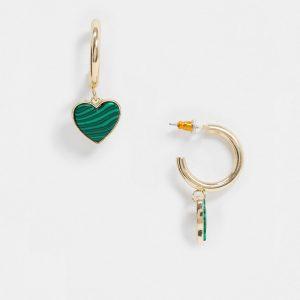 ASOS DESIGN - Guldfärgade creoler med grönt hjärtformat hänge i malakit