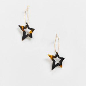 ASOS DESIGN - Guldfärgade creoler med späcklig stjärnberlock