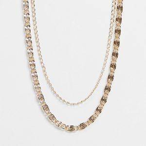 ASOS DESIGN - Guldfärgat flerradigt halsband i vintagestil