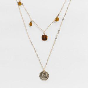 ASOS DESIGN - Guldfärgat halsband i flera rader med halvädelsten och hamrat mynt