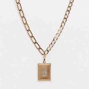 ASOS DESIGN - Guldfärgat halsband med blandade länkar och hängsmycka som bricka