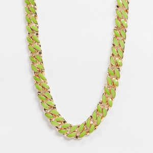 ASOS DESIGN - Guldfärgat halsband med grön pansarkedja i emalj