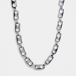 ASOS DESIGN - Silverfärgat halsband med kapsylkedja