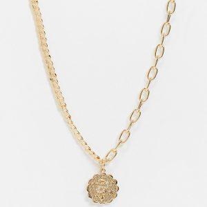 Reclaimed Vintage - Vintageinspirerat guldfärgat halsband med blandade kedjor och myntsmycke
