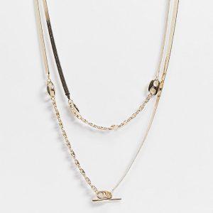 ASOS DESIGN Curve - Guldfärgat halsband med i flera rader med fiskbenskedja och fliklänk