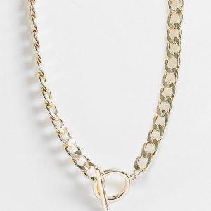 ASOS DESIGN Curve - Guldfärgat halsband med pansarkedja och t-form