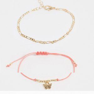 ASOS DESIGN - Guldfärgade armband med fjärilsberlock, 2-pack
