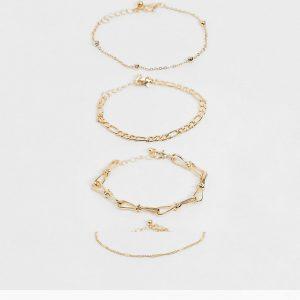 ASOS DESIGN - Guldfärgade armband med olika tvinnade kedjor och kulkedjor i 4-pack