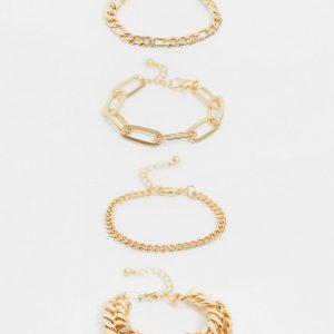 ASOS DESIGN - Guldfärgade blandade armband med grova kedjor i 4-pack