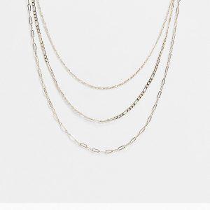 ASOS DESIGN - Guldfärgade halsband med blandade kedjor, 3-pack