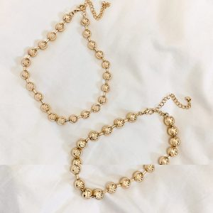 ASOS DESIGN - Guldfärgade halsband med kulkedja, 2-pack