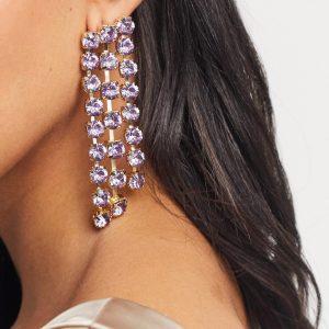 ASOS DESIGN - Guldfärgade örhängen med hängande lila kristall