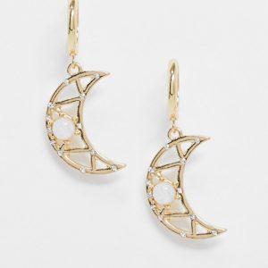 ASOS DESIGN - Guldfärgade örhängen med månformade hängsmycken med opaler