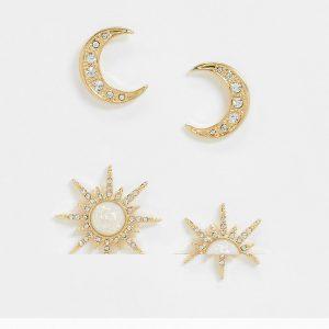 ASOS DESIGN - Guldfärgade stiftörhängen med måne och stjärna i 2-pack