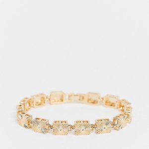 ASOS DESIGN - Guldfärgat armband med graverade brickor i vintagestil
