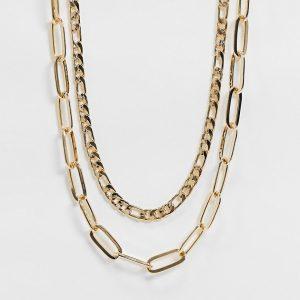 ASOS DESIGN - Guldfärgat halsband i flera lager med öppen länkkedja