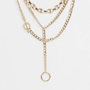 ASOS DESIGN - Guldfärgat halsband i flera rader med blandad design, T-bar och lasso