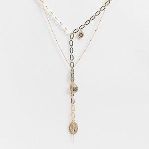 ASOS DESIGN - Guldfärgat halsband med flera kedjor och mynthängsmycken och små kulor