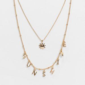 """ASOS DESIGN - Guldfärgat halsband med flera kedjor och """"sunshine""""-hängen"""