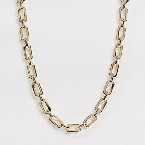 ASOS DESIGN - Guldfärgat halsband med platta öppna länkar