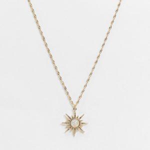 ASOS DESIGN - Guldfärgat halsband med stjärnformad opalberlock