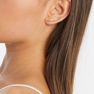 ASOS DESIGN - Guldpläterat klättrande örhänge i sterlingsilver med bolldesign