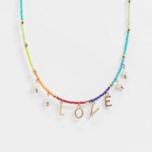 """ASOS DESIGN - Halsband med färgglada pärlor och """"Love""""-berlocker-Flerfärgad"""