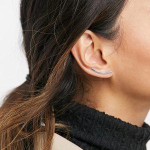 ASOS DESIGN - Örhänge i sterlingsilver med klättrande rördesign