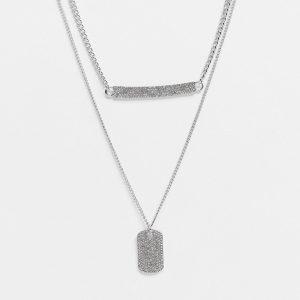 ASOS DESIGN - Silverfärgade halsband i 2-pack med vågrät och lodrät id-bricka