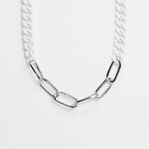 ASOS DESIGN - Silverfärgat halsband med vit pansarkedja-Olika färger