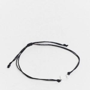 ASOS DESIGN - Smal fotlänk i repdesign med liten silverfärgad fyrkantig berlock-Olika färger