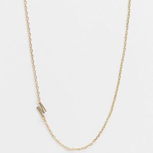 DesignB London - Exclusive - Guldfärgat halsband med M-initial